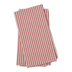 Birdkage - Brittany Tea Towels, Red, Set of 2 - Fresh as a summer breeze, these red and white or black and white striped tea towels will have you dreaming of lemonade and flip-flops. They add color and classic style hanging in your kitchen, lining a breakfast tray or complementing a place setting as oversize napkins. The textured linen features contrasting topstitching for picnic-worthy appeal, and comes in sets of two. Pick up a bunch for yourself or your favorite host or hostess.