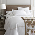 """SFERRA - SFERRA Ribbed Queen Coverlet, 96"""" x 114"""" - Inspired by bedding in the world's finest hotels. Crisp white, 200-thread-count, Italian-spun Egyptian cotton percale is framed with a double row of satin stitching in Taupe, White, or Black. Select color when ordering. Solid white fitted sheets hav..."""