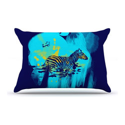 """Kess InHouse - Frederic Levy-Hadida """"Watercolored Blue"""" Zebra Pillow Case, King (36"""" x 20"""") - This pillowcase, is just as bunny soft as the Kess InHouse duvet. It's made of microfiber velvety fleece. This machine washable fleece pillow case is the perfect accent to any duvet. Be your Bed's Curator."""