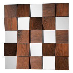 Westside Mirror - Combination of square mirrors and walnut veneer panels at different angles and depths. Color of the veneer may vary as it is a natural product.