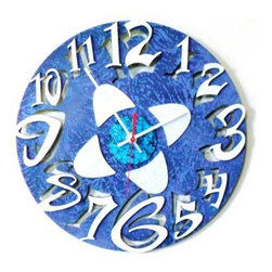 David Scherer 12 in. Blue Mod Disk Wall Clock - Add some cool, mod style to the minutes with the David Scherer 12 in. Blue Mod Disk Wall Clock. A bold focal point for any room, this clock is made of metal with a multi-hued blue finish. Double-layered cutout numbers and a geometric center are wonderfully wild, and a red second hand adds a hint of contrasting color. You'll need to add one AA battery (not included).About David Scherer David Scherer is an American artist who works in a variety of mediums, bringing an intriguing, distinctive style and vibrancy to all of his three-dimensional works of art. Well-known for his 3-D paintings, Scherer's pioneering focus and innovative techniques fuse an explosion of textures and colors that ignite energy that is evident in every creation. Scherer attributes his unique direction to his cumulative experience of more than 30 years as an artist.