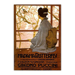 Trademark Art - Giacamo Puccini - Madam Butterfly Framed Canv - Any opera buff would love to own this fantastic Madame Butterfly playbill poster advertising the famous Puccini musical production. We can only imagine the expression on the face of the Japanese woman as she gazes serenely out toward the garden of cherry blossoms.  This exquisite reproduction of the original is a remarkable framed Giclee reprint on canvas.  Anyone who appreciates Japanese culture would be proud to own this attractive wall art. Giclee on canvas. Traditional style. Subject: Vintage. Format: Vertical. Size: Extra large. Canvas material. 32 in. W x 47 in. H (11 lbs.)Giclee is an advanced printmaking process for creating high quality fine art reproductions. The attainable excellence that Giclee printmaking affords makes the reproduction virtually indistinguishable from the original artwork. The result is wide acceptance of Giclees by galleries, museums and private collectors.