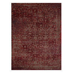 """Loloi Rugs - Loloi Rugs Viera Collection - Red / Taupe, 3'-10"""" x 5'-7"""" - Classically expressed design elements enjoy a graphic, modern twist in the Viera Collection. Power-loomed of 100-percent polypropylene, these tasteful contemporary and refined transitional designs reverberate with style. A deliberate high-low pile adds to the worn, vintage look and finish of each rug. Ultra sophisticated black/ivory and mocha/ivory color options add broad appeal to this timely yet timeless collection."""