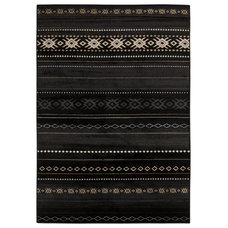 Meticulously Woven Black/Tan Southwestern Aztec Nomad Rug (5'3 x 7'6) | Overstoc