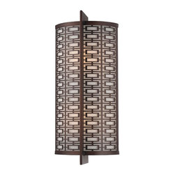 Metropolitan - Metropolitan N2972-267B Atelier Wall Sconce - Asian Wall Sconce in Bronze with Etched White glass from the Atelier Collection by Metropolitan.