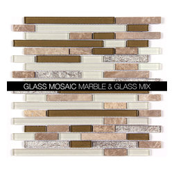 All Marble Mosaic Glass and Stone blend Random Strip 12 x 12 Mosaic Tile Mag-442 - Glass and Stone Blend Mosaic Tiles and Backsplash from All Marble Tiles |