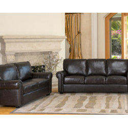 Abbyson Living London Premium Top-grain Leather Sofa and Love Seat -