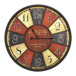 Large `Antiques` Wall Clock 23 1/2 In. - This large wall clock adds an antique accent to your home or office, and it is sure to be admired. It has a metal frame and measures 24 inches in diameter, 2 1/2 inches deep. The clock face reads, `Antiques` and has a wonderful distressed finish. Large, bold numbers and black hands make the clock easy to read, even if it is displayed high up on the wall. The clock features quartz movement, and runs on 1 AA battery (not included). This piece also makes a great housewarming gift.