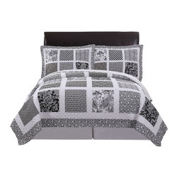 Pem America - Black and White Window Pane Full / Queen Quilt with 2 Shams - Classic quilt pattern updated with blank and white floral and block prints. Includes 1 full / queen size quilt 90x90 inches and 2 pillow shams. 100% cotton face cloth with 94% cotton / 6% other fiber fill.  reverse is 100% microfiber polyester. Machine washable.