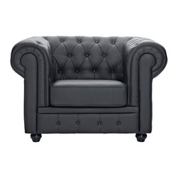 East End Imports - Chesterfield Armchair in Black - There is something very recognizable about the Chesterfield Armchair. While fashioned with a tufted back, and large rounded arms, the most distinctive aspect is arguably the deep buttons. Their careful positioning throughout helps portray both an aristocratic and settled feel at the same time. First named in 1900 after the Earl of Chesterfield who commissioned it, recognize the ability to join individual elements as you completely inspire your room.