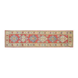 Kazak Area Rug, Hand Knotted 3'X11' Runner 100% Wool Geometric Design Rug SH9340 - This collections consists of well known classical southwestern designs like Kazaks, Serapis, Herizs, Mamluks, Kilims, and Bokaras. These tribal motifs are very popular down in the South and especially out west.
