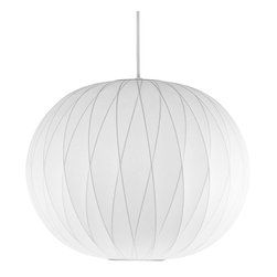 Modernica - Bubble Lamp, Ball Criss Cross, Medium | Modernica - Designer George Nelson helped define midcentury style, and this loving reproduction of a 1947 original epitomizes his visionary aesthetic. Made of translucent plastic that's been stretched over a wire frame, the fixture's abundant, even light is ideal for dining or general illumination. Comes with a nickel-finished ceiling plate and six feet of cord.