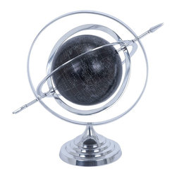 Metal Globe with Attractive Concentric Circle Pattern - Marvelously designed to adorn your study table in style, this Aluminum Globe with Attractive Concentric Circle Pattern is a useful accessory for young and old alike. The very design and the globe placement involve extensive craftsmanship, and lend a sophisticated look to this learning aid. The stable circular base is designed with wavy circular patterns, and offers great balance to the globe. This circular base tapers to a pinpoint and holds the concentric circles supported by one another. The globe is securely placed in this concentric circular arrangement and recreates a fascinating outer space feel. You can map the exact location, and the latitudes and longitudes by adjusting these circles. The globe comes shaded with a dark background and has all the countries accurately mapped. There is an attractive arrow traversing through the globe covering all the circles. Made of superior quality aluminum material, this aluminum globe comes with high endurance to last for a long time.. It comes with following dimensions
