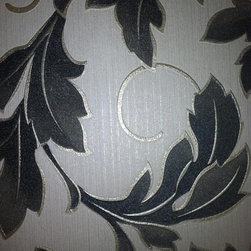 Graham and Brown - Charmed Wallpaper - White/Black, Swatch - This in-register leaf trail features fine detailing in each leaf. You can touch the delicacy of each leaf and marvel at the metallic accents.