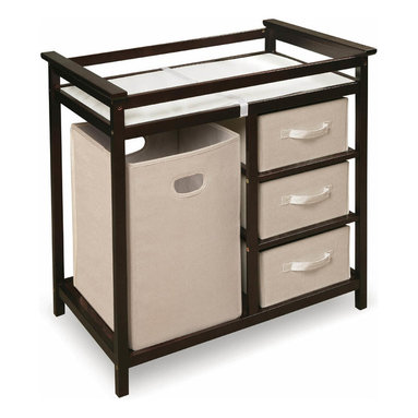 "Badger Basket - Espresso Modern Changing Table with 3 Baskets and Hamper - Espresso Modern Changing Table with 3 Baskets and Hamper;Features: This changing table keeps everything tidy and concealed for a clean look in the nursery.;Large hamper for dirty duds, or for storing bulk packs of diapers, blankets, and toys!;The hamper easily removes from its shelf to carry to your laundry room.;Or, use the hamper elsewhere in the nursery or your house, leaving you a convenient spot in the changing table for your diaper pail or storage.;Three pull-out baskets are ideal for changing supplies, clothes, socks, shoes, and toiletries.;The baskets are also fully removable for use separate from the table, leaving you convenient, open storage cubbies/shelves.;Includes changing pad and safety belt.;Changing pad is polyurethane foam covered with wipe clean PEVA (non-PVC) vinyl.;Hamper and baskets are ecru color, canvas-type fabric.;Hamper and baskets fold for storage. Just remove the bottom panel and fold flat.;Changing area has safety rails on all four sides.;Metal support bar beneath the changing surface provides additional stability.;Frame is made with multi-layer solid wood; shelves are engineered wood with veneer.;Non-toxic finish.;Fabric on the baskets and hampers is 80% polyester/20% cotton.;For use up to 30 lbs (13.6 kg).;Illustrated assembly instructions included.;Dimensions: Overall unit measures 34.25""W x 20.75""D x 34.5""H;Hamper measures 13.5""W x 14""D x 21.75""H;Baskets measure approximately 12.75""W x 17""D x 7""H"