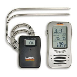 "Maverick - Dual Probe Remote Thermometer - Maverick Redi-Chek Dual Probe Remote Thermometer is our largest receiver unit allowing the user to monitor two different foods at one time for example chicken and beef and each food can have its own temperature taste setting. Transmitter and 2 probes included. Display features: Meats (choose from six: beef turkey pork veal lamb or chicken); Taste or doneness (rare medium well done) as appropriate for each meat or choose your own target Set temperature up to 410 degrees F (210 C) and in your choice of F or C; Actual internal food temperatures for one or two different foods; Elapsed cooking timer (alternates digits with meat by pressing the MODE button). Transmitter features: A display of actual internal food temperature and a red LED indicating transmissions (which occur whenever temperature changes by 1/2 degree). The probes are stainless steel with flexible braid stainless steel sheathed connecting wire 40"" overall length. Transmitter measures 3-1/2"" x 2-3/8"" x 3/4and"