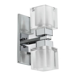 Dainolite - Dainolite 83889A-PC 2LT Wall Sconce Cube CrystalNew Era Collection - 2 Light Wall Sconce, Polished Chrome, Cube Crystal