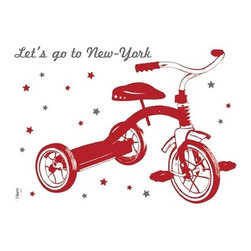 """Lilipinso - """"Let's Go to NYC"""" Wall Sticker - The sticker is ideal for bringing a personal and original touch to your child's playroom and bedroom. Simple to apply and remove, it leaves no marks or sticky residue on your walls, making it a decoration you can easily change when your child outgrow it."""