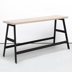"""Iacoli & McAllister - Iacoli & McAllister   36-Inch Panca Bench - Made in the USA by Iacoli & McAllister.Panca, meaning """"bench"""" in Italian, offers an easy and portable spot for a quick break. The powder coat steel base features four cross beams for additional stability and the lower beams perform dual duty as a footrest. The oiled ash seat tops off the frame for a total height of 18-inches, making this bench just right for functioning as a side table as well. The contrast between the warm wood seat and the simple steel lines is eye-catching, while the variety of color options allows the 36-Inch Panca to blend effortlessly with any color scheme."""