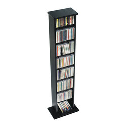 Prepac - Prepac Black Slim Multimedia Storage Tower (Holds 160 CDs) - Make the most out of a limited space with the slim multimedia storage tower. This tower's neat and compact design means it's perfectly suited to small rooms, while still providing storage for over 100 CDs. Adjust the shelves to any position you like as your collection grows and changes. With this unit, limited floor space doesn't have to mean limited storage.