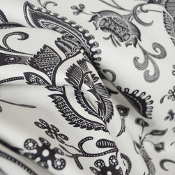 Braemore - Desmond Domino Black White Jacobean Floral Fabric By The Yard - Black and white floral drapery or curtain fabric. Desmond Domino made by Braemore. Very striking pattern that will add flair to any room. Use as drapery panels, pillows, as a bedspread or as a light upholstery fabric.