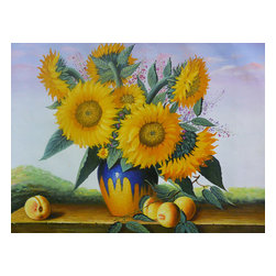 Golden Lotus - Oil Paint Canvas Art Portrait Sunflower Wall Decor - Oil painting on canvas.  ( ship in roll, no frame )