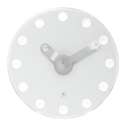 Infinity Instruments, Ltd. - Infinity Instruments Accent Wall Clock, White - Infinity Instruments Accent is an Infinity custom designed modern style clock.  A perfect clock for sleek modern and / or contemporary home or office décor.  This stylish clock is made of tempered glass with custom designed metal hands.