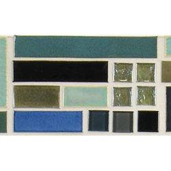"""Glass Tile Oasis - Dusk Border 4"""" x 18"""" Green Tapestry Handmade Tile Glossy Ceramic - Sheet size: 4"""" x 18"""""""
