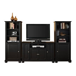 """Crosley - Alexandria 48"""" TV Stand and Two 60"""" Audio Piers in Black Finish - Our 48"""" TV stand and audio pier combination offers a unique solution for both display and storage. Extremely versatile, this combo features adjustable shelves allowing you to effortlessly organize by design. Two audio piers save space yet provide abundant storage options, while the TV stand offers a cord management system that tames the unsightly mess of tangled wires."""