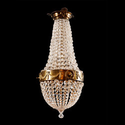 """Scandinavian Tear Drop Chandelier in the Empire Style - Dimensions :  13.5"""" wide x 32.5"""" high, Empire revival tear drop chandelier with glass and crystal prisms suspended from a brass armature, Scandinavia, c.1900-1920."""