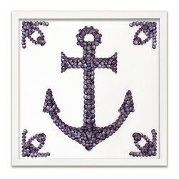 Kathy Kuo Home - Lunenburg Coastal Lavender Purple Shell Anchor Wall Decor - by Karen Robertson - This exquisite piece showcases the Admiralty Anchor, a celebrated nautical icon. Crafted from iridescent limpet shells, each framed work is made to order so you will have about three weeks to decide where it should go.