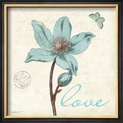 Artcom - Touch of Blue IV (Love) by Katie Pertiet - Touch of Blue IV (Love) by Katie Pertiet is a Framed Art Print set with a COVENTRY Black Thin wood frame.