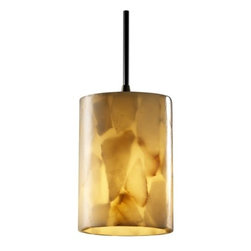 Justice Design Group - Modern Mini-Pendant Light with Alabaster Glass Shade - ALR-8815-10-DBRZ-BKCD - Contemporary / modern dark bronze 1-light mini-pendant light. Includes 8-feet of cuttable black cord. Takes (1) 40-watt incandescent Flame bulb(s). Bulb(s) sold separately. Dry location rated.