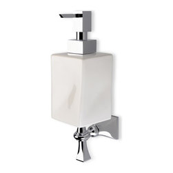 StilHaus - Wall Mounted Chrome and White Ceramic Soap Dispenser - Wall mounted contemporary style square soap dispenser. Hand gel dispenser container is made out of ceramic in a white finish. Lotion dispenser mount and pump is made out of brass with a polished chrome finish. Made in Italy by StilHaus. Contemporary style