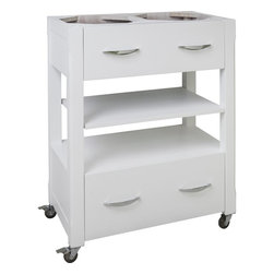 """Hardware Resources - Elements Kitchen Island in Painted White (ISL501-WH) - This 27"""" x 17"""" x 35"""" island is manufactured out of MDF. This small island cart features two working drawers and an adjustable center shelf. The drawers are equipped with full extension slides. Soft rubber casters included. The included decorative hardware can be found in the Elements Belfast Collection (308 128)."""