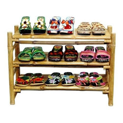 Bamboo54 - Bamboo 3 Tier Folding Shoe Rack w Natural - Folding shoe rack. Wonderful for small spaces. Holds up to 9 pairs of your favorite pumps 3 more including the bottom. Made of Bamboo. 27 in. W x 19 in. H x 12 in. D