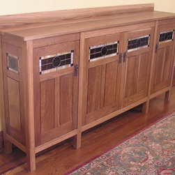 """custom design - sideboard - Designed as a one-off for a client with very particular needs, this sideboard was intended to fit into a Southwest Mission styled house.  Long, high and narrow (16""""d x 42""""h x 84""""L), the careful proportioning downplay the very customized dimensions."""