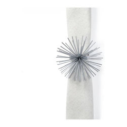 Z Gallerie - Scoppio Napkin Ring - Set of 4 - Akin to a sculptural piece of art, the Scoppio Napkin Ring offers a modern detail to chicly embellish your table. Designed as an easy to layer piece, our Scoppio Napkin Ring brings dramatic impact to your tabletop.  Distinctively cast out of iron and finished in a lustrous metallic hue, our Scoppio Collection adds layers of lux to any interior. Complete with a square base for ease of use, our Scoppio Napkin Ring is available in both Gold or Silver. Exclusive to Z Gallerie. Sold as a set of four.