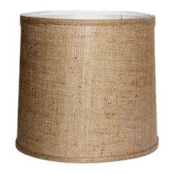 Crown Lighting - Large Brown Burlap Modified Drum Shade with Self-trim - Give your home lighting a charming accent with this textured modified drum shade. Large to fit a variety of lamp styles, this contemporary shade is made with brown burlap fabric and features a 0.5-inch metal spider to hold its shape.