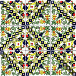 "Hand Painted 4"" x 4"" Decorative Ceramic Tiles - Beautiful hand painted decorative ceramic tile. Vanilla Design. Ceramic tiles are sold by the square foot, 9 tiles per square foot is 1 order. Tile size is 4 inch x 4 inch x 0.25 inch thick. Hand painted in Tunisia, a southern Mediterranean country. Tiles are fired twice between 500-600 degrees in a ceramic oven. Ceramic tiles are very colorful with a glossy finish. Easy set up and Heavy duty. For indoor and outdoor use. Ceramic tiles are scratch resistant, also water and fade resistant. Contact Seller for large order discounts and Custom tile work. Ref; CCP042"