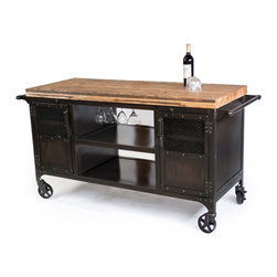 Custom Industrial Bar - !This custom bar was created for a clients office and is featuring a reclaimed train-car floor top. The butcher block style top is sealed with food safe oil. A wine glass rack was installed along with amazing custom handles. The patina is hand done in several layers giving the steel cart and casters the beautiful vintage industrial finish.