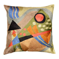 """Modern Silk - Kandinsky Abstract Silk Throw Pillow Cover Hand Embroidered 18"""" x 18"""" - Swirls of colorful chain stitch embroidery hand woven from soft Kashmiri Art Silk adds a dazzling sheen to the creation. In the abstract style of Wassily Kandinsky the eye-popping color and pattern of this creation is just what the designer ordered to create a fiery focal point in your décor. Perfect wherever you need a splash of color, this art silk-on-cotton creation is as durable as it is beautiful. Easy to care for, this cushion cover could spark up an old throw pillow or grace a new pillow form. Chain stitch is finer form of  crewel embroidery. Here the whole base of the pillow is covered with embroidery creating distinct swirls. Kashmiri craftsmen  produce the finest quality chain stitch needlework in the world."""