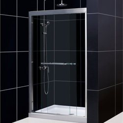 "BathAuthority LLC dba Dreamline - Duet Frameless Bypass Sliding Shower Door, 44 - 48"" W x 72"" H, Chrome - The Duet shower door combines high quality materials with a sleek frameless design for an amazing value. The bypass shower doors slide effortlessly on perfectly engineered guide rails allowing entry into the shower from either side. For an easy installation the shower door offers a total of 1 in. in out-of-plumb adjustments, while the top and bottom guide rails may be trimmed down up to 4 in. in width."