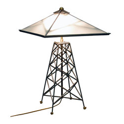 cosmo barbaro furniture - Capitalist Lamp - Capitalist lamp utilizes carbon steel round stock and features a custom shade with 4 triangular frosted pieces of glass.  The cluster head is made out of solid brass and holds 60 watt incandescent bulbs that are on a 3 stage touch dimmer.