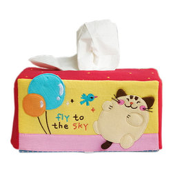 Blancho Bedding - Cat & BalloonEmbroidered Applique Fabric Art Tissue Box Cover Holder 8.7*4.5*4 - Aesthetics and Functionality Combined. This lovely fabric art Tissue Box Cover features a fully embroidered and hand-appliqued design with lovely characters and patterns. Measures 8.7 inches wide x 4.5 inches high x 4.5 inches deep. The lovely design enlivens your home and office decor! It is made of 100% quality crushed, wrinkled look cotton fabrics. Soft and comfortable! Decorate your dresser, bathroom, or coffee table with this lovely handmade felt Fabric Tissue Box Cover. Its keeps tissues easy to reach, perfect for everyday use! One size fits most! This multi purpose embroidered applique tissue box cover is a must-have accessory for your home decoration. Tissue box not included!