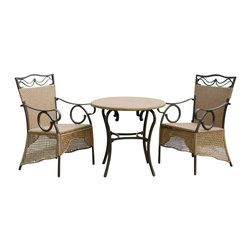 International Caravan - Valencia Skirted Outdoor Bistro Patio Set - 3 Piece Outdoor Wicker Bistro Set. Comes with (3) deep seated resin wicker bistro chairs and (1) round 30 in. wicker patio table. Very unique skirted design. Complete with outdoor weatherproof protection. UV Light Fading Protection. Easy assemble. Table: 30 in. Diam. x 29 in. H. Chairs: 24 in. W x 23 in. D x 38 in. H