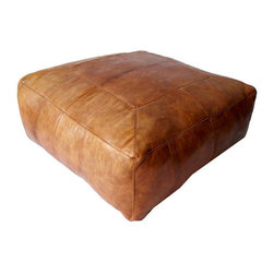 SOLD OUT!  Large Moroccan Square Leather Ottoman - $4,800 Est. Retail - $2,600 o - Now that's a pouf!  Wonderful Morrocan leather upholstered ottoman.  Comfy, yet chic.  Throw it in a family room and let everyone relax and enjoy it.