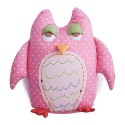 The Little Acorn - Baby Owl Shaped Pillow-Pink - A decorative pillow good for Girls or Boys, our popular Tooth fairy Owl shaped pillow is now available in BABY size! Great decor in the nursery and a memorable tooth fairy pillow as little one grows up. Great coordinate for Alphabet Adventure and Natureland Fairies collections. Our baby girl owl is made of pink with white polkadots 100% cotton sateen, hypoallergenic poly fill with crafty hand embroidered details and hand quilted 3-dimensional wings, feet, eyes and beak. 12' high shaped pillow with tiny pocket on back for all sorts of things like; tooth-fairy rewards, special treats, or even bedtime notes to encourage little ones to bed. WHOOOooo doesn't love that?! Made in China