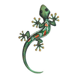 GSC - Green Lizard Orange Spotted Copper Wall Decoration - This gorgeous Green Lizard Orange Spotted Copper Wall Decoration has the finest details and highest quality you will find anywhere! Green Lizard Orange Spotted Copper Wall Decoration is truly remarkable.