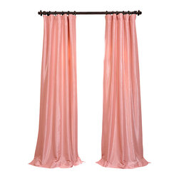 "Exclusive Fabrics & Furnishings, LLC - Flamingo Pink  Faux Silk Taffeta Curtain - 56% Nylon & 44% Polyester. 3"" Pole Pocket with Hook Belt. Lined. Interlined. Imported. Weighted Hem. Dry Clean Only. SOLD PER PANEL."